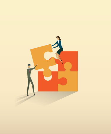 Business teamwork people partnership connecting puzzle elements.  vector illustration.