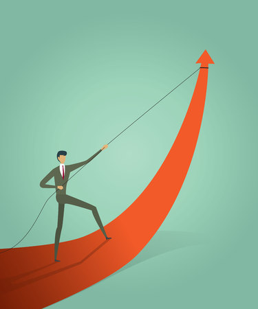 Business people pulling arrow graph go path to goal or target, symbol of growth concept Vector illustration Imagens - 123965871