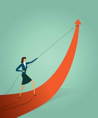 Businesswoman pulling arrow graph go path to goal or target, symbol of growth concept Vector illustration Imagens - 123965872