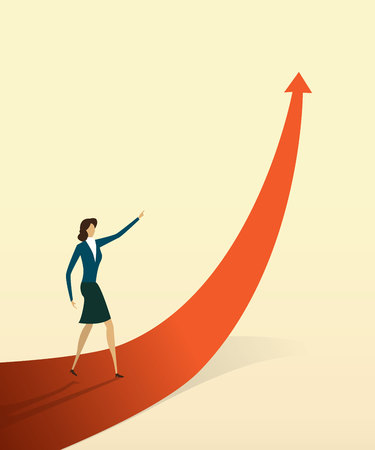 Business people with on arrow go path to goal or target, symbol of growth concept Vector illustration Imagens - 123965873