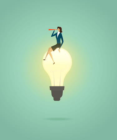 Businesswoman sit on lightbulb creative concept solution and with telescope see vision, ambition succes. illustration - vector Imagens - 123965874