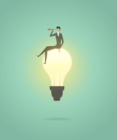 Businessman sit on lightbulb creative concept solution and with telescope see vision, ambition succes. illustration - vector
