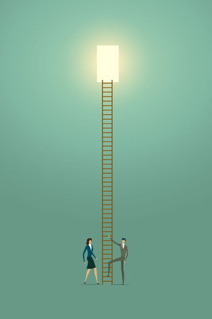 Business people vision creative concept solution opportunities on top of ladder success. illustration - vector Imagens - 123965876