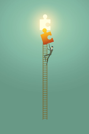 Businessman vision creative concept solution opportunities on top of ladder climb puzzle elements success. illustration - vector Imagens - 123965877