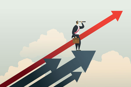 Businessman standing searching for opportunities goal on arrow. illustration Vector Imagens - 123965878