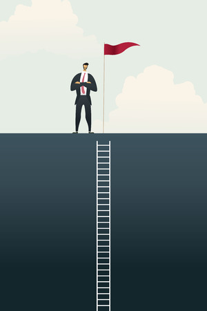 Business people with flag on standing on bar chart top over of goals, success ladder concept. illustration Vector Imagens - 123965879