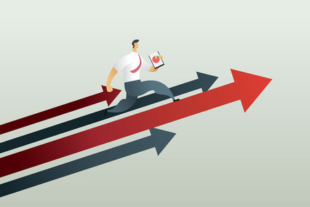 Running to path to achieve a target, business concept Vector illustration Imagens - 123965880