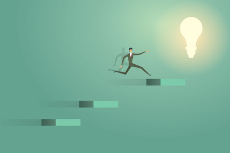 Businessman jumping go on lightbulb creative concept solution ambition success illustration Ilustração