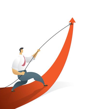 Business people pulling arrow graph go path to goal or target, symbol of growth concept Vector illustration