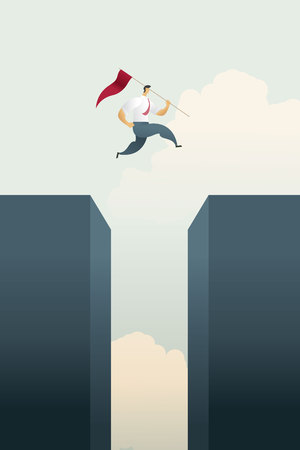 Businessman with flag jumps across gap bar chart top over of goals and challenge opportunity, success. illustration Vector Ilustração