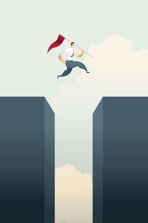 L'homme d'affaires avec le drapeau saute à travers le graphique à barres de l'écart au-dessus des objectifs et de l'opportunité de défi, le succès. illustration vectorielle