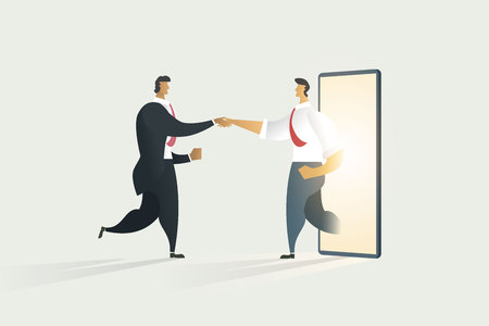 Business people shaking hands through cooperation on display mobile. illustration - vector