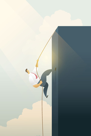 Business people climbing a cliff on a rope path to goal or Achievement business goal and motivation growth, success. Vector illustration