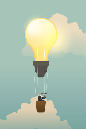 Businessman searching for opportunities on bulb lamp balloon.illustration - vector