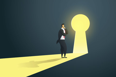 Businessman standing thinking near keyhole door  in the wall of the hole at light falls. illustration Vector Imagens - 126255130