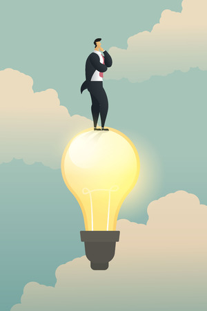 Creativity thinking businessman solution stand on light bulb. illustration vector Imagens - 123965888