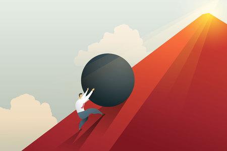 Businessman pushing boulder up to hill and hard work challenge. Concept illustration vector.