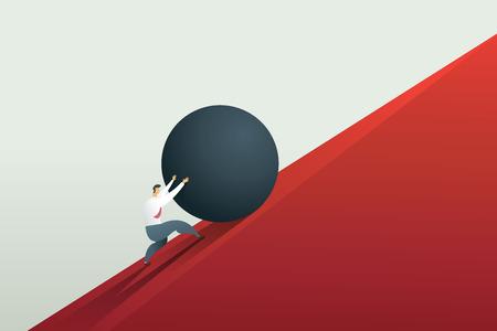 Hombre de negocios empujando la roca hasta la colina y el desafío del trabajo duro. Vector de ilustración de concepto.