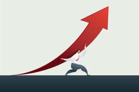 Businessman leader holding arrow up path to goal or target in business, success. illustration Vector Ilustração
