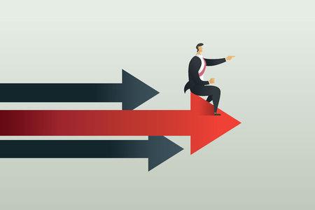 Business people sit point path to goal on arrow, concept Vector illustration Ilustração