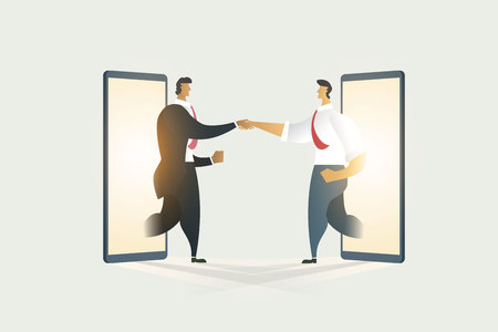 Business people shaking hands through cooperation on display mobile. illustration - vector Imagens - 123965893