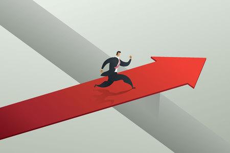 Businessman running cross the red arrow bridge to achieve target. concept illustration vector