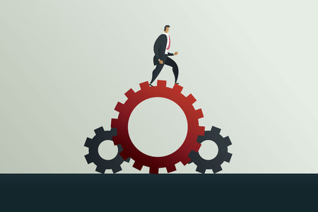Businessman running along gear mechanism. Business concept vector illustration Imagens - 126255982