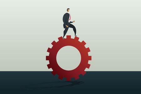 Businessman running along gear mechanism. Business concept vector illustration