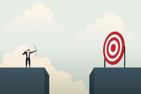 Business people aiming the target. Concept business, vector illustration. Ilustração