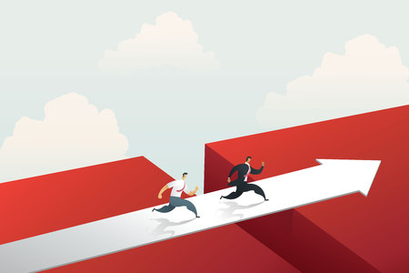 Businessman running cross the red arrow bridge to achieve target. concept illustration vector Imagens - 123965897