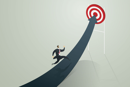 Businessman running to arrow go to achieve a target, business concept Vector illustration