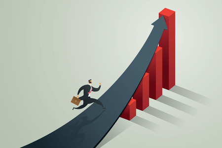 Businessman running to arrow to achieve a target and growth business,  concept Vector illustration Ilustração