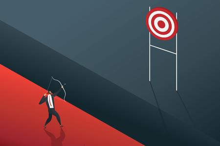 Businessman standing searching for opportunities goal. illustration Vector Ilustração