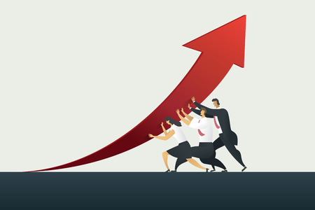 Business person teamwork holding arrow up path to goal or target in business, success. illustration Vector Imagens - 123965900