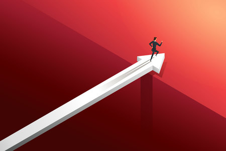 Businesswoman running on arrow over bridge with challenge go to growth success. illustration Vector Ilustração