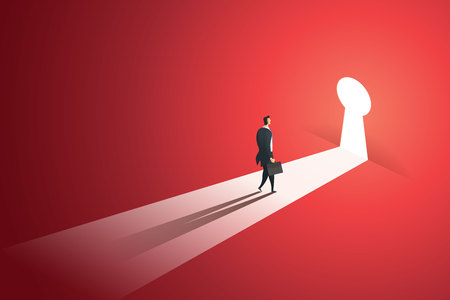 Businessman walking go to near keyhole door in the wall of the hole at light falls. illustration Vector