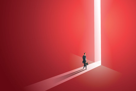 Businessman walking go to front of bright big shining door in the wall red of the hole at light falls. illustration Vector