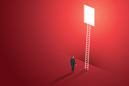 Business people vision climbing ladder through hole on wall red solution opportunities creative concept. illustration vector Ilustração