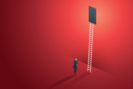 Business person standing thinking looks at door on wall red up path ladder to goal success. illustration Vector Ilustração