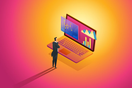 Business person standing looks analysis data and Investment Infographic financial review on laptop. illustration Vector