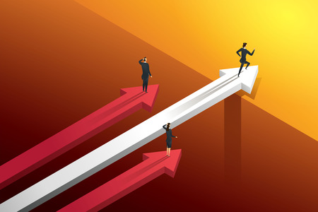 Three business people racing on the arrows but one persons running over bridge go to growth and success. illustration Vector