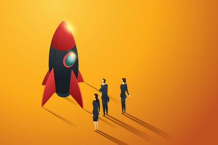 Startup business group people standing view to a rocket, isometric concept. illustration Vector