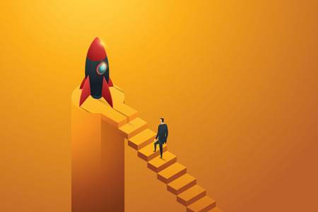 Startup businessman walking up ladder to a rocket, isometric concept. illustration Vector