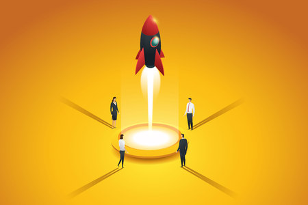 Startup business group people launching a rocket. Flat 3d isometric concept. illustration Vector
