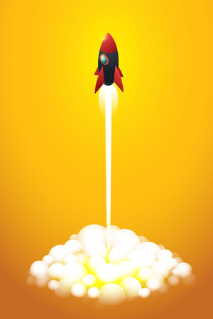 Startup business to a rocket flying on orange background. isometric illustration Vecto Ilustração