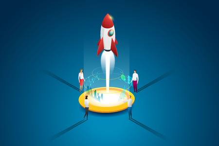 Startup business group people launching a rocket and idea through planning and strategy. Flat 3d isometric concept. illustration Vector Ilustração