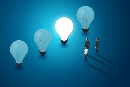 Concept with light bulbs blue background group of business people stand look and idea creativity thinking. illustration vector Imagens - 122936660