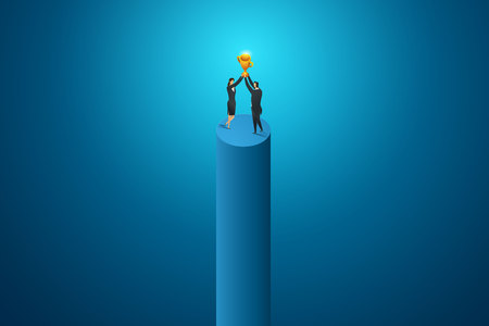 Business people women and man hold big trophy competition achievement. isometric concept vector illustration