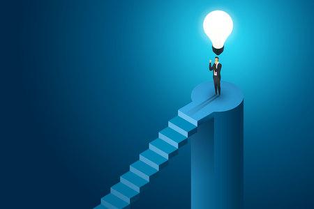 Businessman standing under lightbulb creative concept solution and vision, ambition succes. Flat isometric illustration vector Ilustração