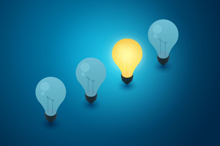 Concept with light bulbs blue background and idea creativity thinking. illustration vector Imagens - 122936666